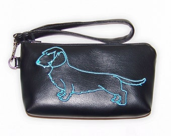 Elegant Black Clutch/Wristlet with Blue Wire Hair Embroidered Dachshund