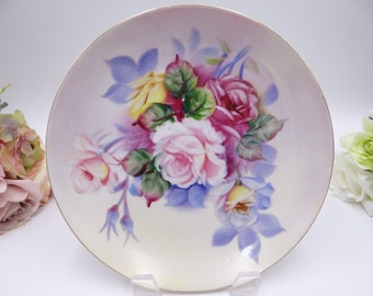 1950s Mid Century Hand Painted Lefton Pink Rose Plate