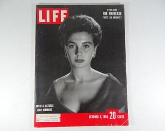 1950 Life Magazine, October 9, Busiest Actress Jean Simmons - Paris Fashions - Korean War