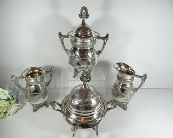 Late 1800s Meriden Britannia Company Silver Plate Breakfast Set - Pattern 1935 - Creamer and Sugar Set - Butter Dish with Domed Lid -Spooner