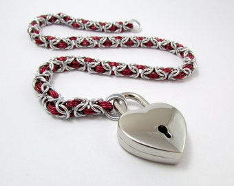 Collar in Red and Silver with Heart Padlock - Handmade Slave Day Collar - Byzantine Chainmaille Animal Kitten Pup Furry Play