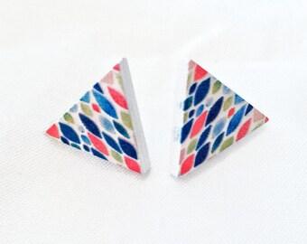 Earrings triangular, wooden rod, multicolored, very light, wood triangle earrings, multicolored, very light