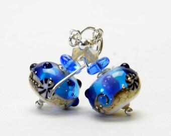Ocean Blue Lampwork Glass Earrings - Seaside Beach Earrings - Handmade Jewelry