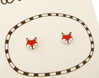 Super Tiny Fox Shrink Plastic Stud Earrings