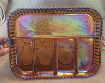 Vintage Orange Carnival Glass Serving or Jewelry Platter with multiple compartments