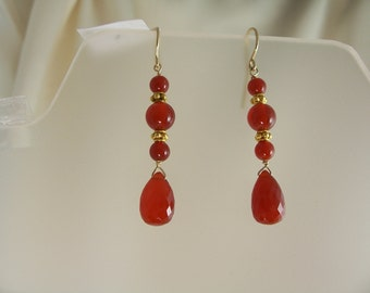 Carnelian earrings dangle earrings 14k gold filled gemstone handmade item 882