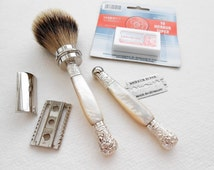 Double Edge Razor Set with Antique Mother of Pearl Handles Silvertip Badger Shaving Brush Retro Style by London Cutlers