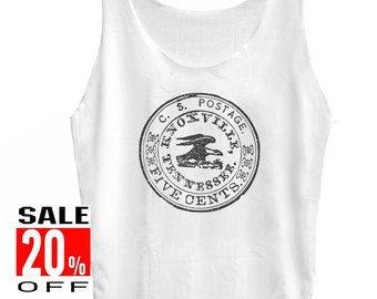 Postal Stamp shirt eagle tshirt eagle tank topart top graphic tee tumblr top women tank top funny tank top unisex singlet size S M L
