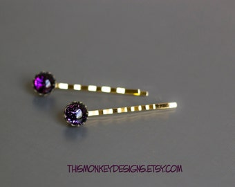 Purple Passion dichroic glass bobby pin set / etsy / handmade / gold / black / hair / accessories / gift for women / jewelry / raleigh