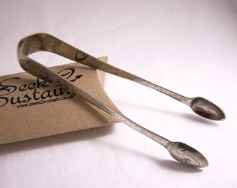 Antique Sterling Silver Tongs , Georgian Tongs, 1801 Hallmarked Silver Tongs, Sugar Tongs, Hallmarked Tongs, Sterling Silver Engraved  Tongs
