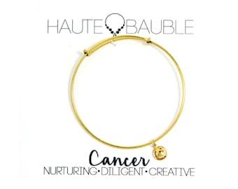 Cancer Zodiac Bangle Bracelet