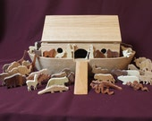 Solid oak Noah's ark with animals