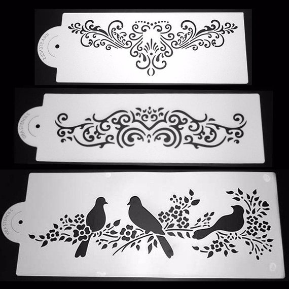 wedding cake stencils decorating 3pcs carving plastic cake stencil cookie by 25702