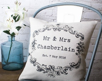 Personalised Vintage Style Mr & Mrs with Name Date Custom Made Pillow Cushion Cover Quality Linen Cotton