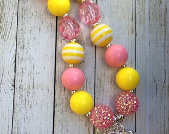 Princess Aurora, Sleeping Beauty pink and yellow chunky beaded necklace