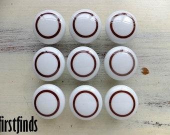 9 Knobs Cabinet Hardware White Brown Kitchen Pulls Dresser Drawer Handles Circles Shabby Chic Ceramic Cupboard Door ITEM DETAILS BELOW