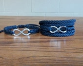 His and Hers Large Infinity Bracelets His Knotted Hers 5X Wrap You Choose Color