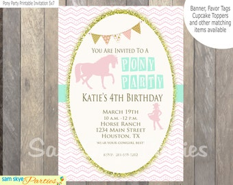 Pony Party Birthday Party Invitation, Horse Birthday Party, Cowgirl Invitation, Showers DIY Printable File