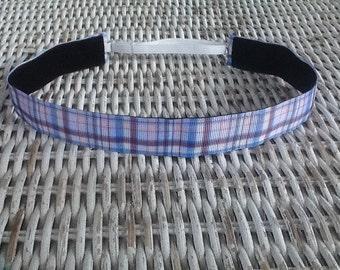 Blue Plaid Headband - Girls Sports Headband