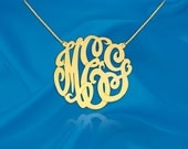 Gold Monogram Necklace - 1 inch Handcrafted Designer - 24K Gold Plated Sterling Silver - Personalized Initial Necklace - Made in USA