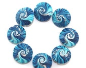SALE 20% Off - Polymer Clay focal beads, swirl lentil beads in blue, turquoise and white, unique pattern beads, elegant beads with silver do