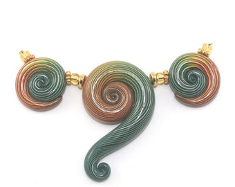 Elegant gradient spiral beads, Ombre handmade beads for Jewelry making, Polymer Clay green and orange beads, 3 spiral beads with stripes