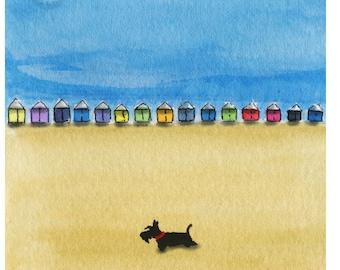 Scottie Dog Art Print Scottish Terrier 'On The Beach' #6
