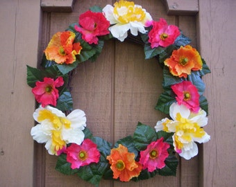 Spring flower wreath/Summer flower wreath wreath/Wedding wreath/Mother's day wreath/shabby chic  wreath/Fabric flower wreath/Easter wreath