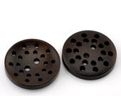 """6 Dark Brown Laser Cut Buttons 2 Holes 25mm(1"""") - pack of 6 PWB40"""