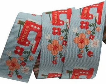 Red Sewing Machine Ribbon by Renaissance Ribbons 1 Yard Floral Ribbon Renaissance Ribbons Red and Aqua Ribbon - Novelty Ribbon