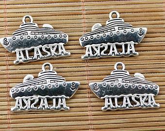 12pcs tibetan silver tone ALASIKA ship design charms EF1715
