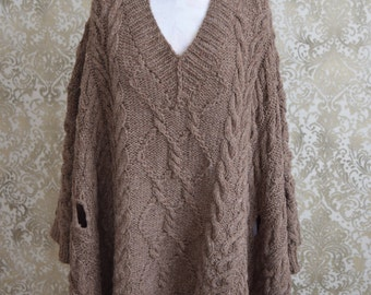 New hand knitted 100% wool brown color poncho
