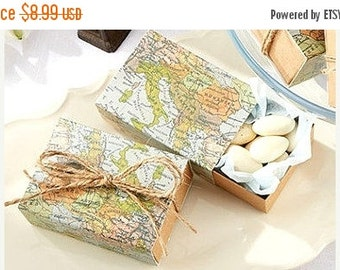 SALE 50% OFF Map Boxes Wedding Favors Wedding Favor Boxes Guest Gift Boxes Map Favor Boxes Vintage Map Boxes Wedding Guest Gifts Mint Boxes
