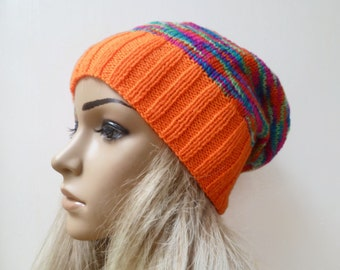 Sale! Hand Knitted Slouchy Beanie -  Hand Knit Hat - Women Knitted Hat - Orange Slouch Beanie - Festival Slouchy Beanie - ClickClackKnits