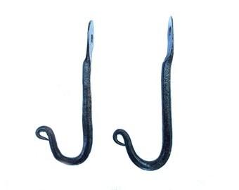 2 small J-hooks blacksmith hand forged
