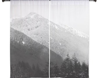 Sheer Curtains - Mountains, Forest, Fog, Home Decor, nature photography by RDelean Designs