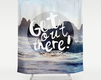 Shower Curtain -  PNW, Northwest, Sea, Coast, Travel, Text - Nature Photograpy by RDelean Designs