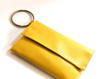 Yellow Wristlet, Vegan Clutch Bag, Wristlet Clutch, Yellow Purse, Small Handbag, Envelope Clutch