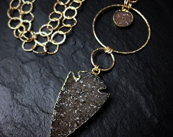 Gold Druzy Arrowhead Necklace / Long Druzy Necklace / Bohemian Layering  Jewelry / Festival Jewelry / Gift for Her / Gray Crystal Arrowhead