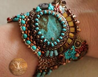 Aztec -  beautiful free form peyote bracelet