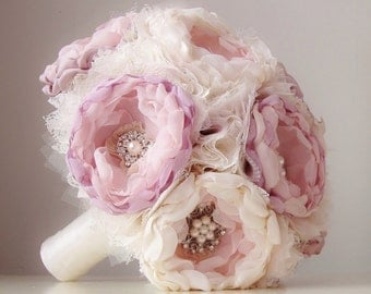 Fabric Wedding Bouquet, Handmade Fabric Bridal Bouquet, Vintage Wedding Bouquet, Brooch Bouquet - this is a 50% DEPOSIT ONLY