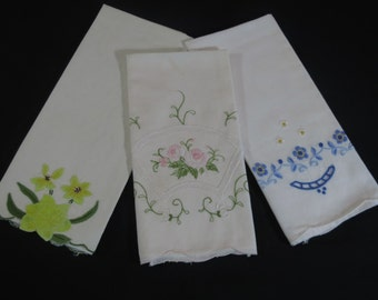 Three Embroidered Hand Towels