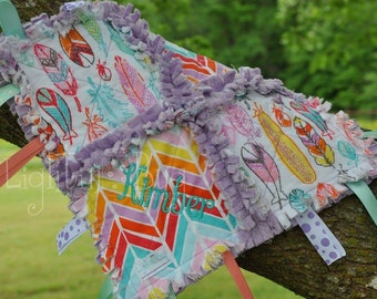 Tribal Feather  Baby Tag Blanket / Minky Blanket for Girls in Pink and Purple