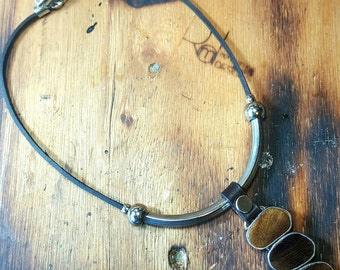 Wood and leather statement necklace