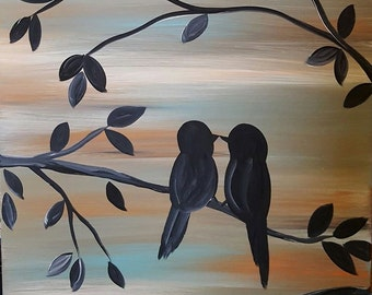 Birds & Branches Stretched Canvas Painting