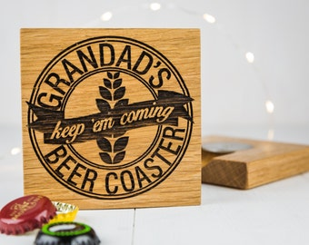 Beer Coaster And Bottle Opener - Gift For Dad - Boyfriend Gift - Beer Mat - Birthday - Gift for Him - Bottle Opener - Gadgets For Men