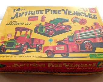 Cragstan 14 Pc Antique Vehicles Set  w Original Box - Antique Japan Tin Vehicles Set