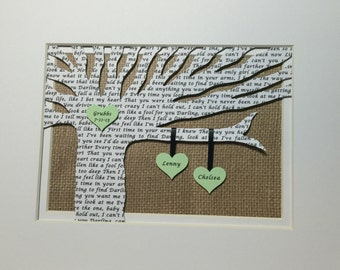 Anniversary Gift, First Dance Song Lyrics, Personalized First Anniversary Gift - Wedding Song Lyrics Tree - Customized - Fits 8x10 Frame