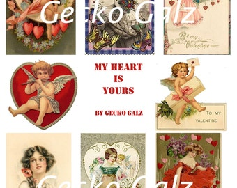 My Heart Is Yours digital collage sheet