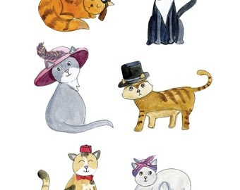 "Cats in Hats 8"" x 10"" print"